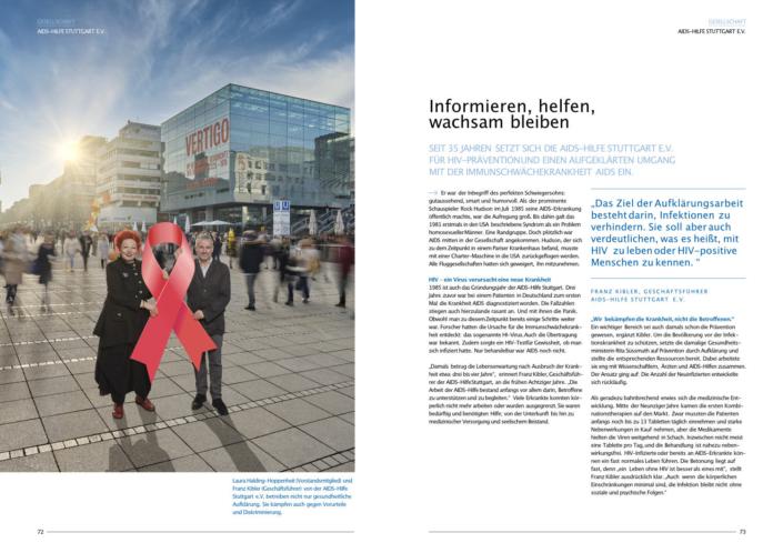 Imagefotografie, Werbefotografie, Kampagnenfotografie, Volksbank Stuttgart eG, Nachhaltigkeitsbericht, Aidshilfe Stuttgart, Königstrasse, Kunstmuseum Stuttgart, Rote Schleife, HIV Prävention