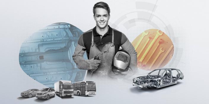 Kampagnen Fotografie Stuttgart und Umgebung Daimler AG Azubi Kampagne Lackierung Junger Mann mit Lederschürze Schweißmaske und Schweißpistole Rohkarosse und mehrere Mercedes Benz Modelle sind sichtbar