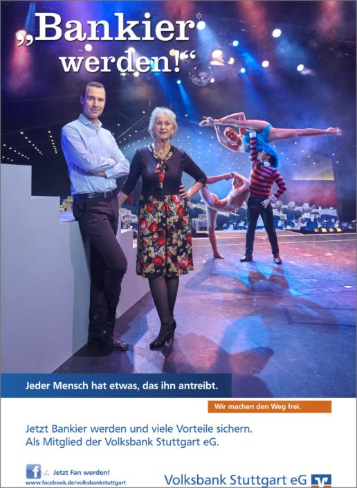 Imagefotografie Werbefotografie Kampagnenfotografie Volksbank Stuttgart eG Bankier Kampagne Bankier werden Friedrichsbau Varieté Theater Stuttgart Feuerbach Künstler Tanz Unterhaltung