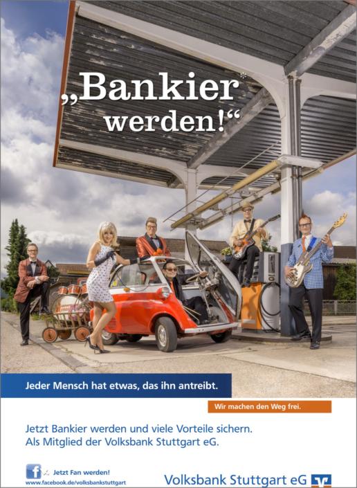 Imagefotografie Werbefotografie Kampagnenfotografie Volksbank Stuttgart eG Bankier Kampagne Bankier werden Tankstelle Band Musik Coverband 70er Wirtschaftswunder