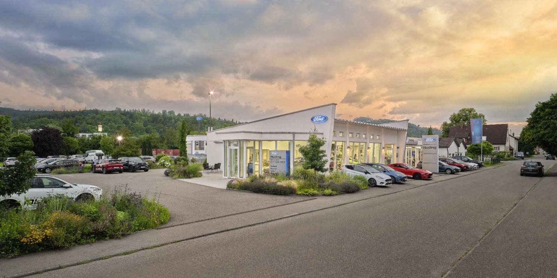 Architekturfotografie Sonnenuntergang Autohaus Nuding Remstal