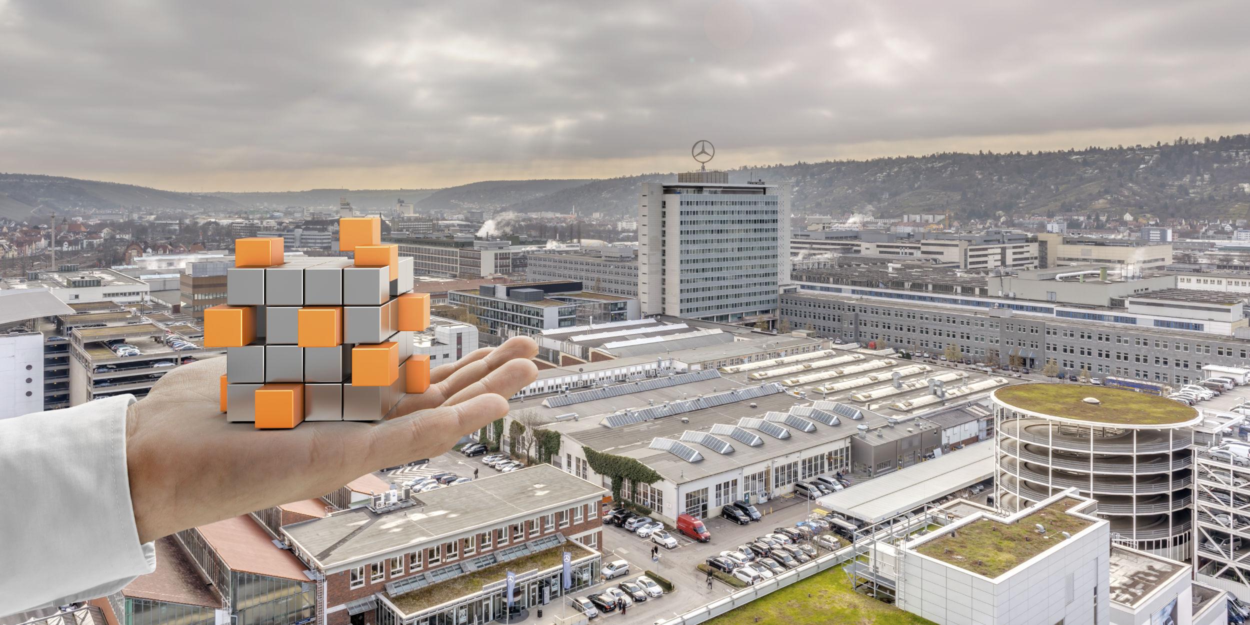 Kampagnen Fotografie Untertürkheim Stuttgart und Umgebung Daimler AG CGI Zauberwürfel gemischt mit realer Umgebung im Werk Untertürkheim