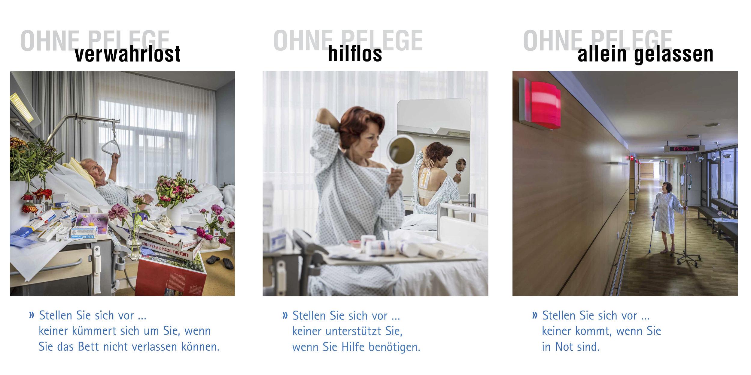 Kampagnen Fotografie Eine Welt Ohne Pflege Diakonie-Klinikum Stuttgart Kampagne Stellen Sie sich vor ... Mann verwahrlost im Bett mit Pizzaschachteln und Medikamenten Frau Hilflos versucht sich selbst zu verbinden Frau steht einsam auf Krankenhaus Flur alle Notruf Lampen sind auf Rot