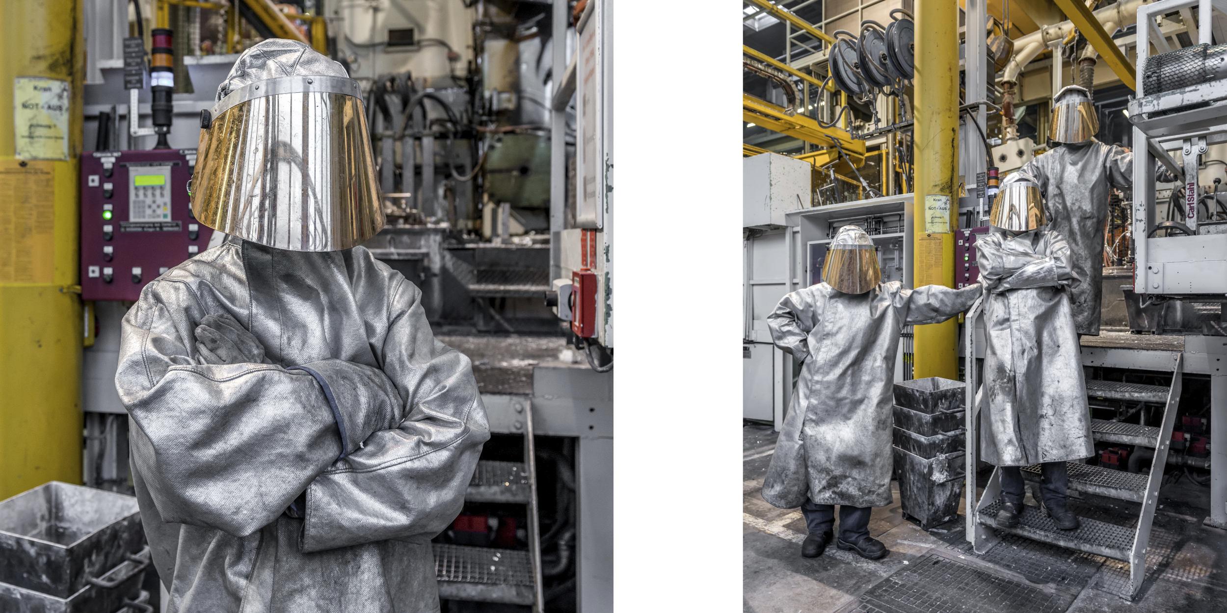 Industriefotografie Stuttgart und Umgebung Mercedes Benz PTU Stahl Schutzanzug Schutzmaske Portrait
