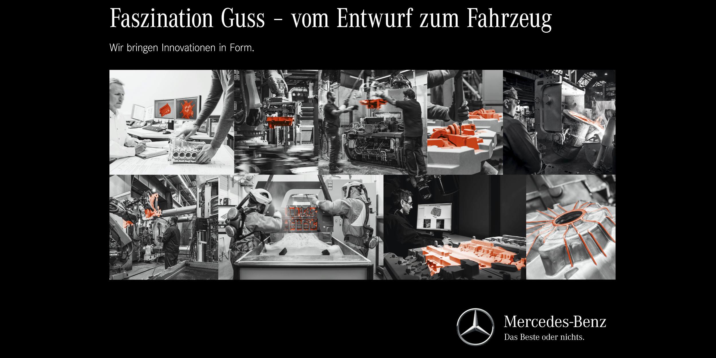 Industriefotografie Stuttgart und Umgebung Kampagnenflyer Mercedes Benz PTU-DT Schwarz Weiss Faszination Guss