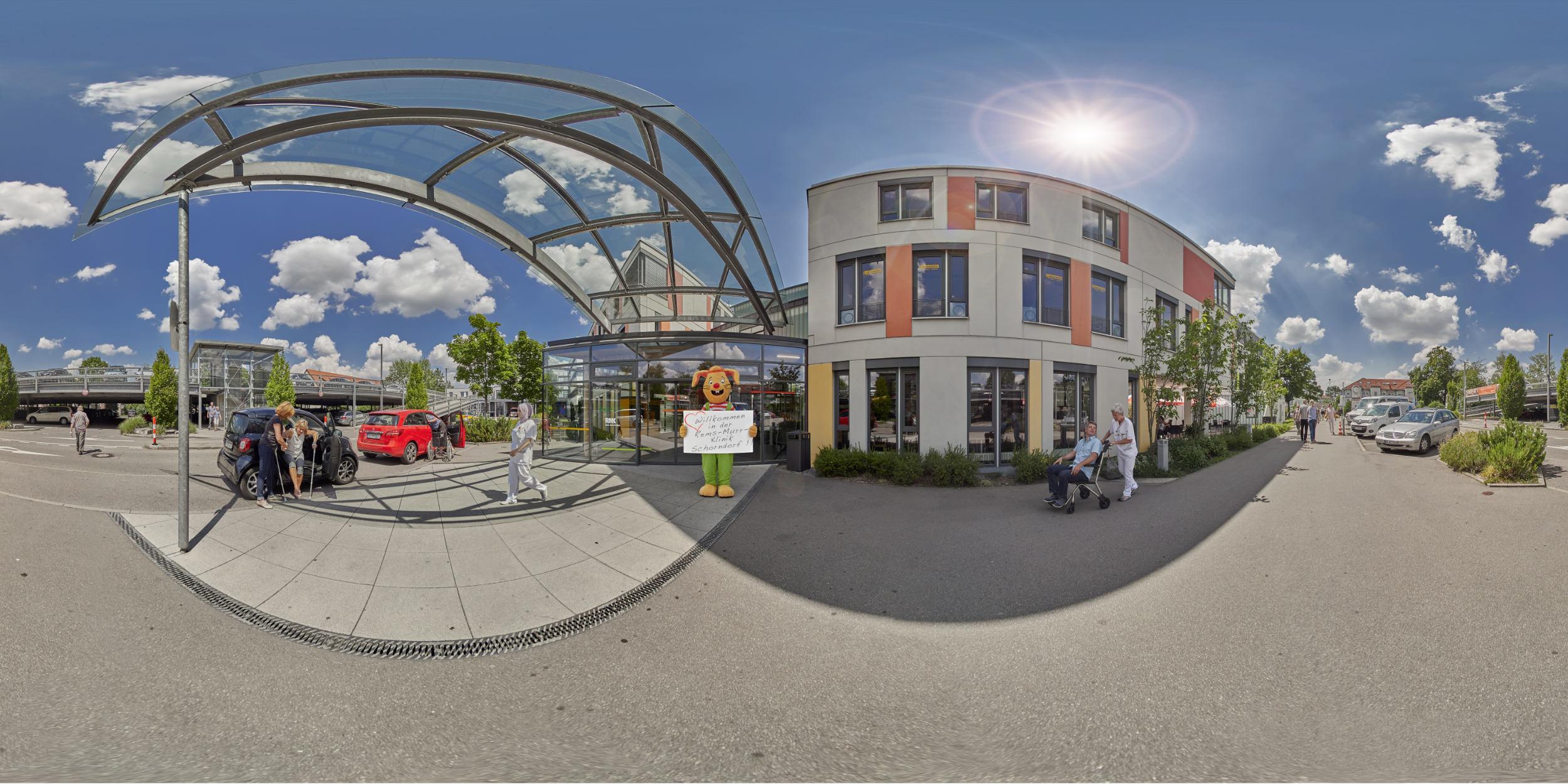 Panoramafotografie Virtuelle Touren 360Grad Fotografie Stuttgart und Umgebung Panorama 360°x180° Sphäre Virtuelle Tour durch das Rems-Murr Klinikum Winnenden und Schorndorf Eingangsbereich