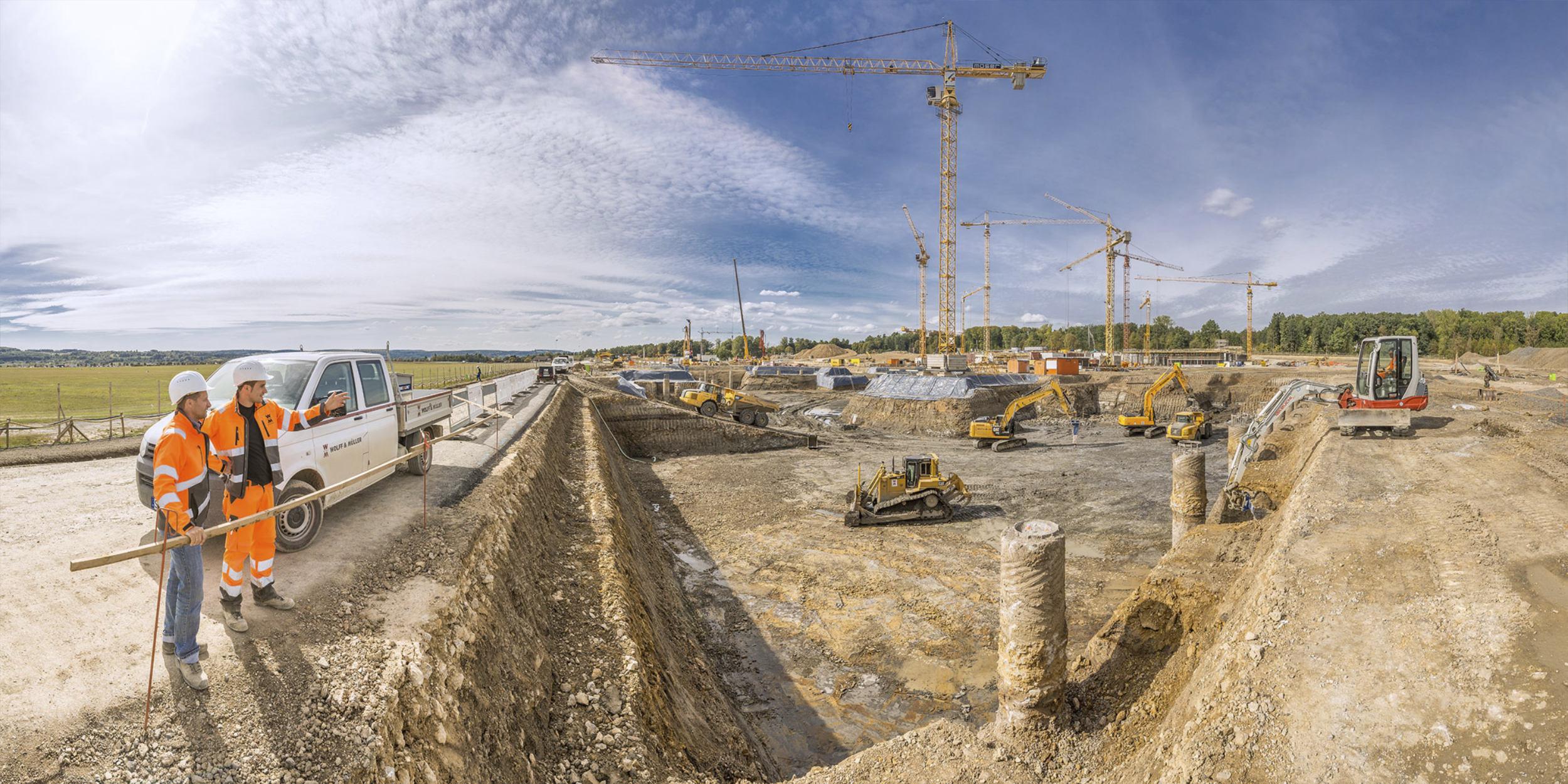 Panoramafotografie Virtuelle Touren 360Grad Fotografie Stuttgart und Umgebung Wolff und Müller Bauarbeiten Tiefbau Malmsheim Besprechung Baubegutachtung Bagger Kräne Kipper