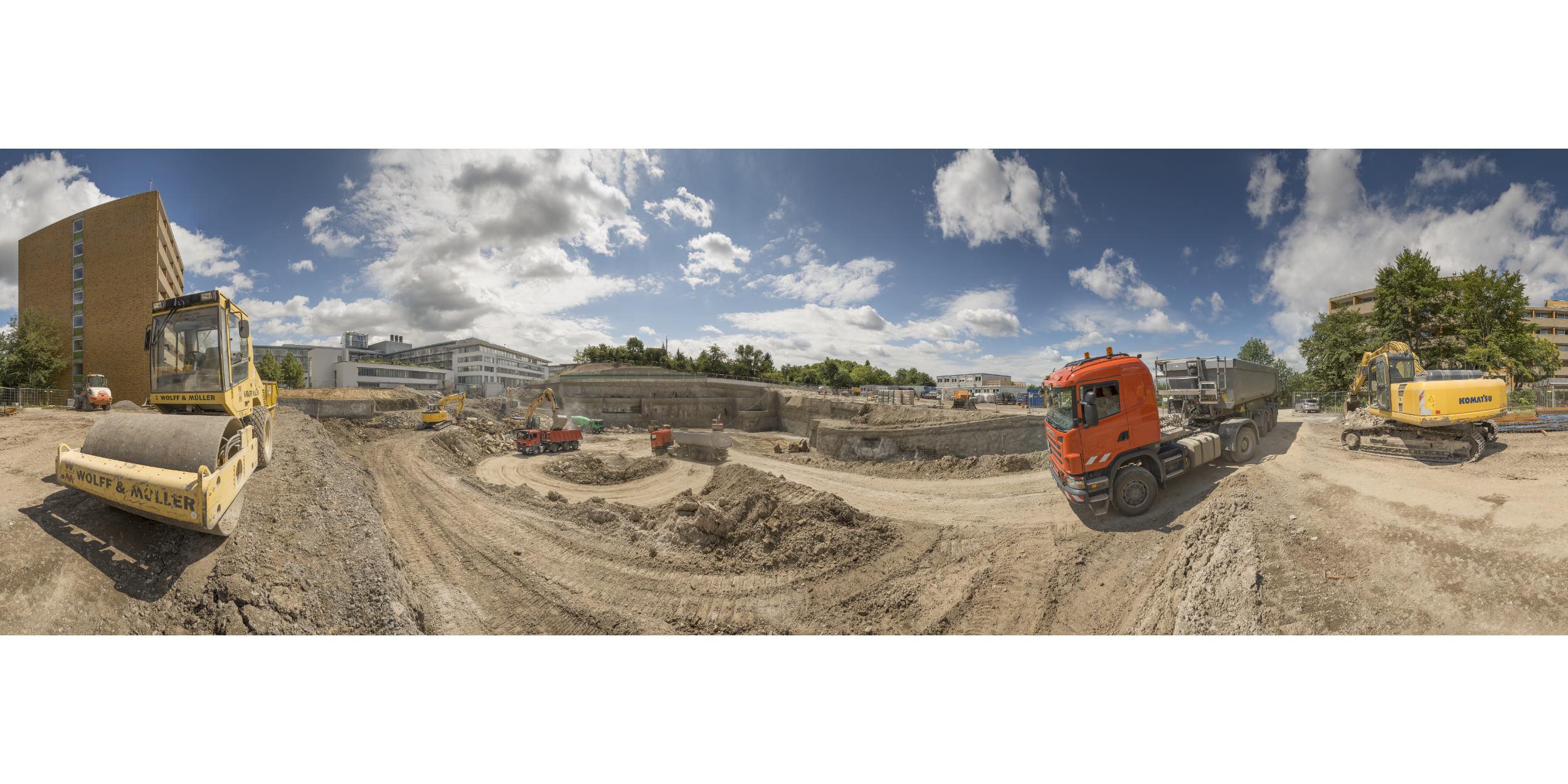 Panoramafotografie Virtuelle Touren 360Grad Fotografie Stuttgart und Umgebung Baustelle Wolff und Müller Robert Bosch Krankenhaus LKW Bagger Erdbewegung 180Grad